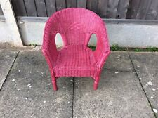 Vintage Small Children's Pink Wicker Chair