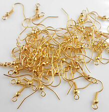 50PCS DIY Deisgn Jewelry Findings 18K Gold Plated Ball Hook Earring Ear Wire NEW