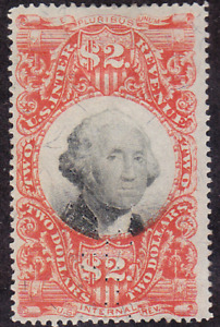 US Scott R145 old $2 3rd issue revenue stamp U/VF CV $45