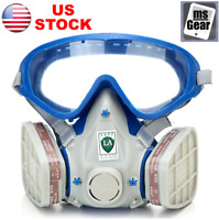 Gas Mask Double Filter Face Guard Goggles Anti-dust Respirator Paint Spray Fire