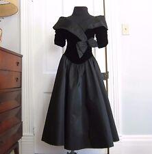 Vintage 80's Black Prom Dress Taffeta Velvet Bow Size Small Formal Party Dance