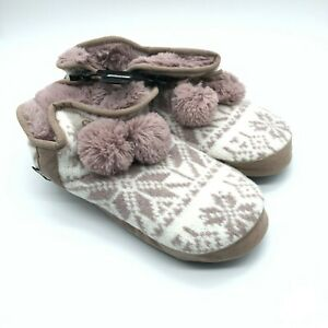 Muk Luks Womens Bootie Slippers Faux Fur Lined Knit Ivory Mauve Size 11-12