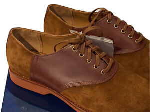 New Box Ralph Lauren Polo Snuff Suede & Saddle Leather Mens Spectator Shoes 11 D