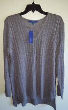 NEW Apt. 9 Women's XXL Crisscross Ribbed LIGHTWEIGHT V-Neck Sweater GRAY #330618