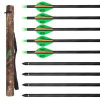 "10X 32"" Archery Carbon Arrows SP 300 Recurve Compound Bow Hunting & Camo Quiver"