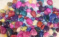 2 POUNDS OF COLORED GEMSTONE ROCKS novelty stones VARIETY real ROCK polished new