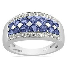 1.32ct Tanzanite & White Topaz Cluster Band Sterling Silver Ring Platinum over