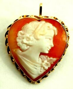 Antique Estate Carved Heart Shape Shell Cameo Pindant (pendant or Pin)14k gold