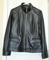 Cole Haan Womens Genuine Lamb Skin Black Leather Jacket Size M Medium EUC