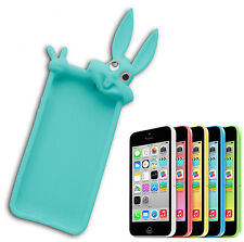 COVER CASE FLIP COMPATIBLE IPHONE 5 BUNNY RUBBERY SOFT BLUE