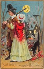 1910 Colonial Couple Distant Witches Black Cat Bats Full Moon Halloween postcard