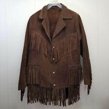 Buckskin Brown Leather Fringed Jacket Coat Homemade Vintage Mens S Womens M L