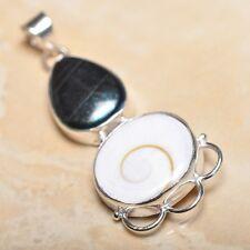 "Handmade Shiva Eye Shell Gemstone Pure 925 Sterling Silver Pendant 2.5"" #P14290"