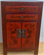 "cabinet lacquered wood drawers free standing Asian butterflies 16"" x 13"" x 24"""