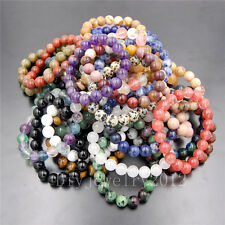 "Handmade 6mm Natural Round Beads Stretch Charm Bracelet Jewelry 7""/7.5""/8""/8.5"