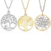 Tree-of-Life Charm Circle Pendant & Chain Necklace in Solid .925 Sterling Silver