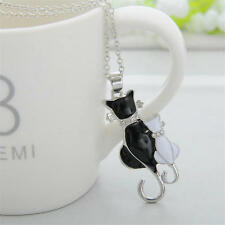 Fashion Women Silver Plated Cat Chain Pendant Necklace Charm Jewelry