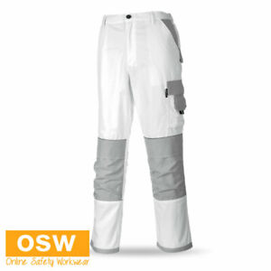 BN Mens White Painters Painting Pro Trouser Multifunction Work Pants S~2XL