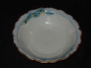 "Eamag Bavaria Blue Forget Me Not 8 1/2"" Round Serving Bowl with Gold Rim Flower"