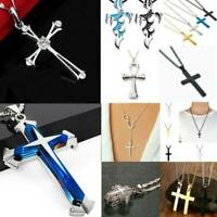 Unisex 925 Silver Stainless Steel Cross Pendant Chain Necklace Women Jewelry