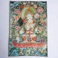 "36"" Tibet Tibetan Cloth Silk White Tara Guanyin Kwan-yin Tangka Thangka Mural#4"