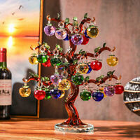 Xmas Crystal Figurines Glass Apple Tree with 6-36 pcs Apple Fengshui Home Decor