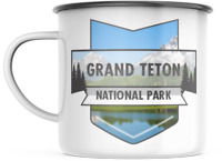 Grand Teton Wyoming National Park 12 OZ Enamel Mug Campfire  Mug  Souvenir