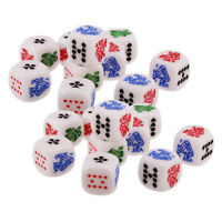 Set/20pcs Six Sided D6(Ace,King,Queen, ,10,9) Poker Gaming Card Game Dice