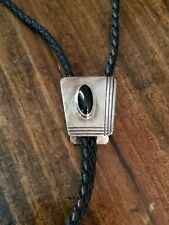 Navajo Sterling Silver and Black Onyx Southwestern Bolo Tie Signed R