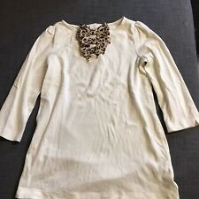 Janie And Jack Autumn Safari Leopard Bow Ivory Cotton 3/4 Sleeve Tunic Size 10