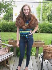 "#A57 wonderful redish brown muskrat Fur stole wrap 39"" in long"