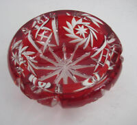 Handcut Pinwheel Bohemian Crystal Cranberry Red Cut to Clear Cased Ashtray