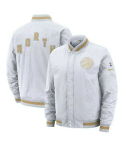 Nike Mens Toronto Raptors White City Edition Courtside Bomber Jacket Sz XXL $200