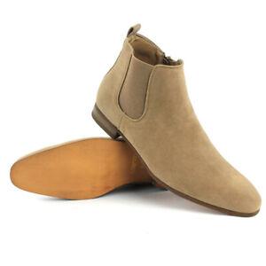 Tan/Beige Suede Men's Chelsea Boots Ankle Dress Side Zipper Almond Toe ?ZARMAN