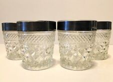 Vintage Set Of 4 Silver Band Anchor Hocking Wexford Pattern Old  Fashion Glasses