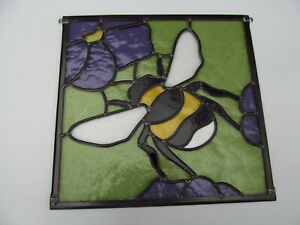 Newly crafted Traditional Stained Glass Window Panel BUMBLE BEE  348mm by 336mm