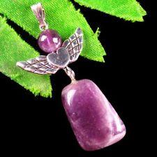 Natural Amethyst Tumble Tibetan Silver Wing Pendant Bead K97651