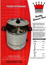 New Crown Food Steamer 6 Litre, 2kg Capacity Stainless Steel Made in Australia
