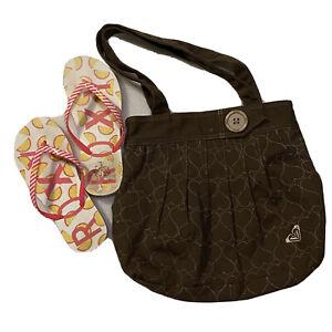 Roxy Bundle! 🍋 Lemon Slippers Zori Flip Flops Women's US 6, Brown Tote Bag GUC