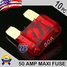 10 Pack 50A AMP Gold Large Blade Style Audio Maxi Fuse Car 12V 24V 32V Auto US