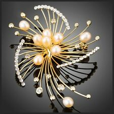 DF101 Handmade With Swarovski Crystals Gold Art Deco Faux Pearl Brooch $98