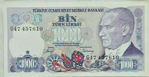 1970 Turkey 1000 Lirasi  Paper Money Banknotes Currency ,G47 457610,Uncirculated