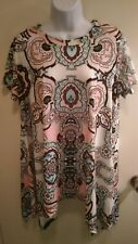 Women's Leo Rosi Cora Tunic Blouse Boho Print Pink Blue Brown White Black XL