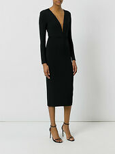 NWT $120 ASOS PREMIUM Heavy Textured Crepe Longer Plunge Neck Midi DRESS Lined