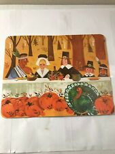 Vintage Eureka Thanksgiving Pilgrims And Native Americans Picture Wall Hanging