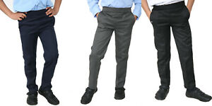 Age 2-10 Easy Wear Boys Pull Up Elasticated Back School Trousers Black Grey Navy