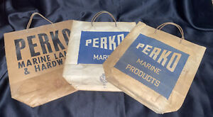 VTG PERKO MARINE BAGS 1950-60s GREAT MAN CAVE OR MARINE FISHING COLLECTIBLE