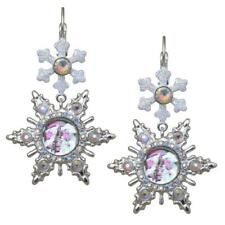 KIRKS FOLLY  SEAVIEW ICE MOON SNOWFLAKE LEVER BACK EARRINGS IN  SILVER TONE
