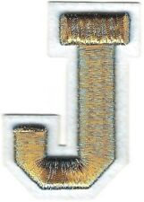 "1 3/4"" x 2 1/2"" Metallic Gold Blue White Felt 3D Raised Letter J Patch"