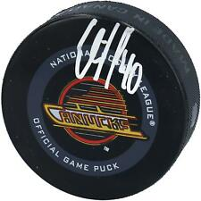 Elias Pettersson Vancouver Canucks Signed Black Skate Throwback Logo Game Puck